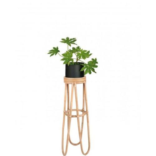Support Pot Plante en Rotin sur Pied