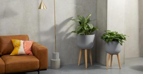 Allo, lot de 2 grands porte-plantes en polyrésine, gris ciment