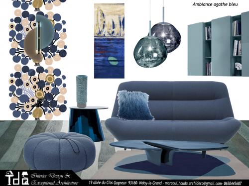 Ambiance salon bleu agathe