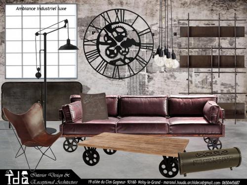 Ambiance salon industriel luxe