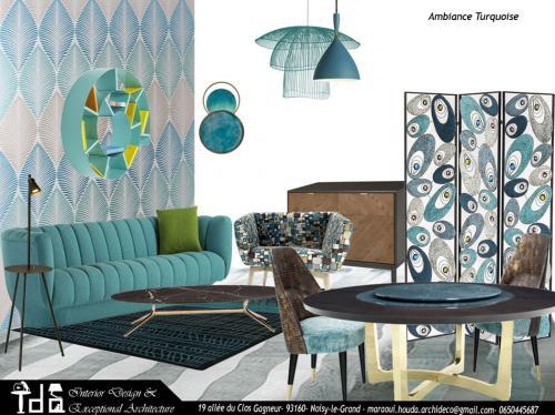Ambiance salon turquoise